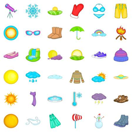 rainbow umbrella: Hot weather icons set, cartoon style