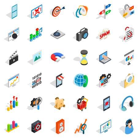 Web progress icons set, isometric style