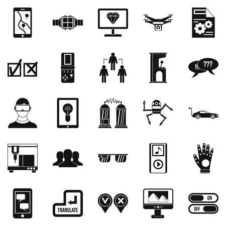 responsive: Mind icons set, simple style