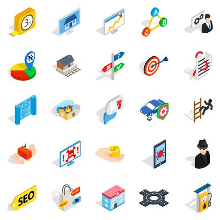 responsive: Development interface icons set, isometric style Illustration