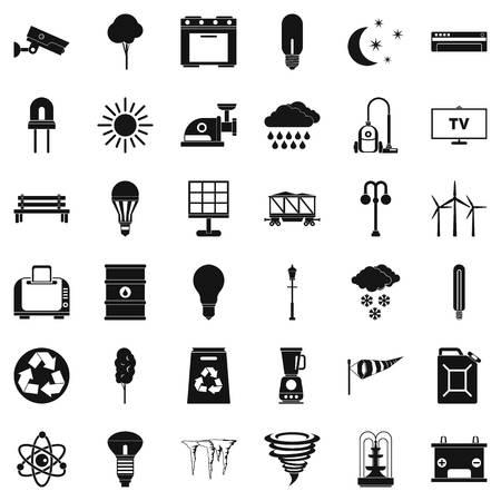 Ensemble d'icônes de recyclage, style simple Banque d'images - 83731118