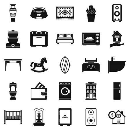 Conjunto de iconos de cuna, estilo simple