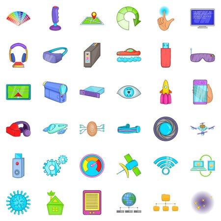 Network technology icons set. Cartoon style of 36 network technology vector icons for web isolated on white background Illustration