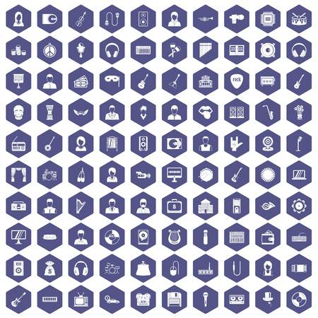 tenor: 100 music icons set in purple hexagon isolated vector illustration
