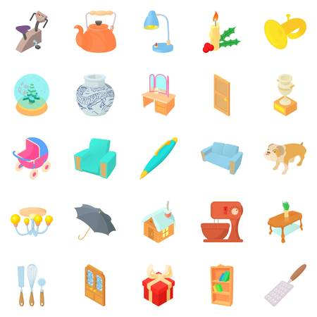 open floor plan: Home furniture icons set. Cartoon set of 25 home furniture vector icons for web isolated on white background