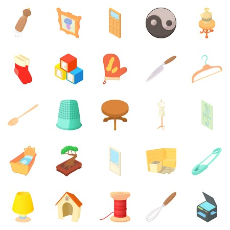 bathroom tiles: Homes things icons set. Cartoon set of 25 homes things vector icons for web isolated on white background