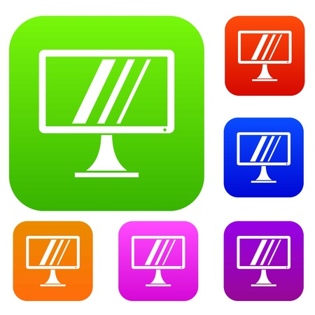 Computer monitor set icon in different colors isolated vector illustration. Premium collection