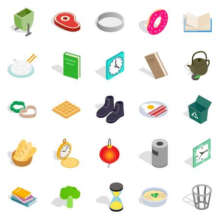 home office interior: Inside icons set. Isometric set of 25 inside vector icons for web isolated on white background