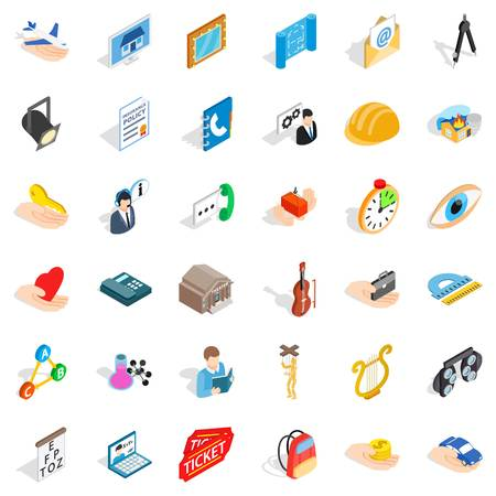 Office work icons set. Isometric style of 36 office work vector icons for web isolated on white background Illustration