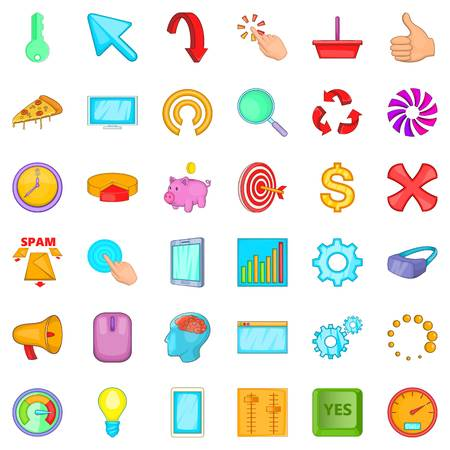 Workplace icons set. Cartoon style of 36 workplace vector icons for web isolated on white background