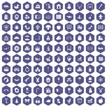 100 nursery school icons set in purple hexagon isolated vector illustration