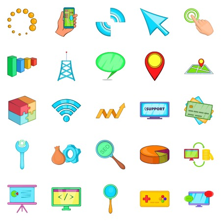 Online store icons set, cartoon style