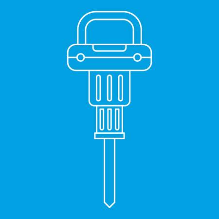 jack tar: Pneumatic hammer icon blue outline style isolated vector illustration. Thin line sign Illustration