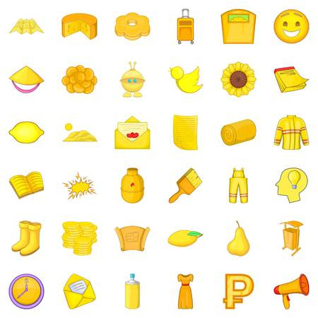 limon: Yellow bottle icons set. Cartoon style of 36 yellow bottle vector icons for web isolated on white background