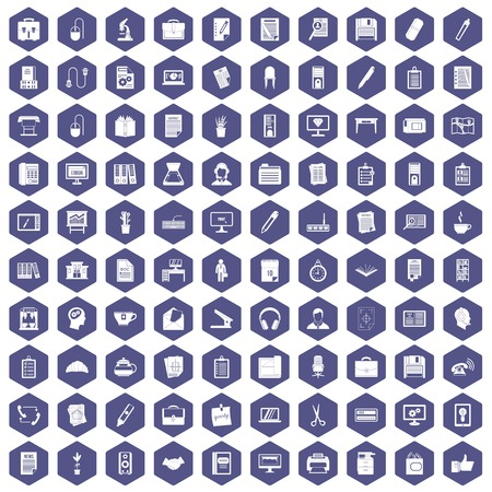 calendar icon: 100 office icons set in purple hexagon isolated vector illustration