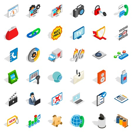 mov: WWW marketing icons set. Isometric style of 36 www marketing vector icons for web isolated on white background