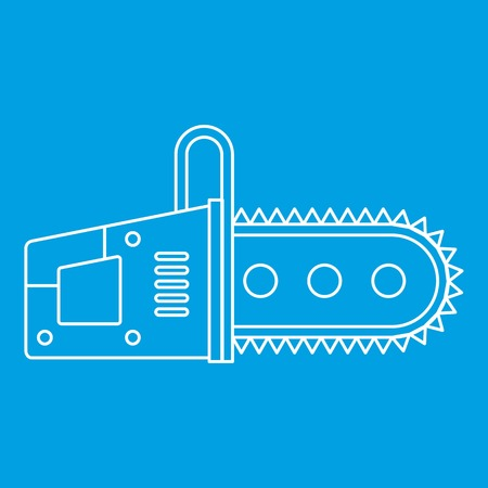 Chainsaw icon blue outline style isolated vector illustration. Thin line sign