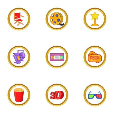 Cinema festival icons set. Cartoon set of 9 cinema festival vector icons for web isolated on white background