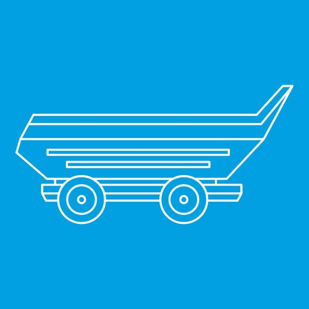 Car trailer icon blue outline style isolated vector illustration. Thin line sign
