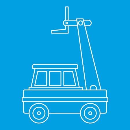 Cherry picker icon blue outline style isolated vector illustration. Thin line sign