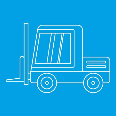 moving truck: Stacker loader icon blue outline style isolated vector illustration. Thin line sign