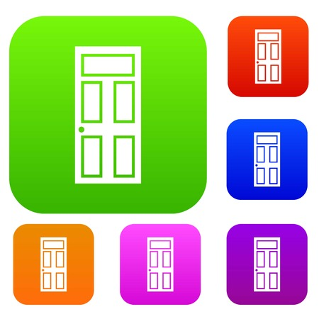 office building: Wooden door with glass set icon in different colors isolated vector illustration. Premium collection