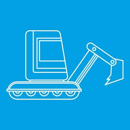 Mini excavator icon blue outline style isolated vector illustration. Thin line sign Illustration