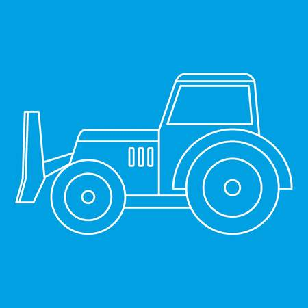 Skid steer loader bulldozer icon blue outline style isolated vector illustration. Thin line sign Illustration