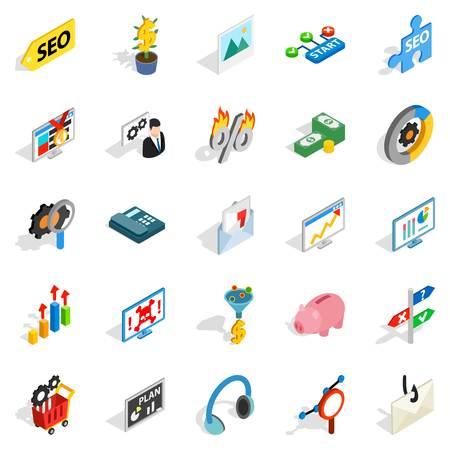 Spending on the internet icons set. Isometric set of 25 spending on the internet vector icons for web isolated on white background Illustration