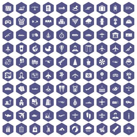 palm pilot: 100 plane icons set in purple hexagon isolated vector illustration Illustration