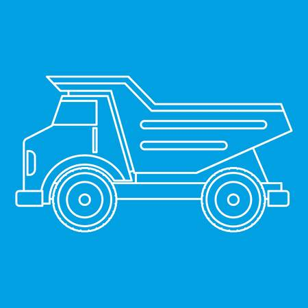 quarry: Dump truck icon blue outline style isolated vector illustration. Thin line sign