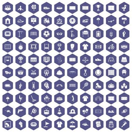 100 icônes de terrain de jeu en hexagone isolé illustration vectorielle Banque d'images - 83658959