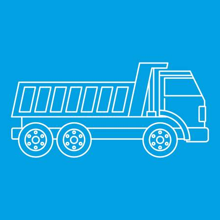 Dumper truck icon blue outline style isolated vector illustration. Thin line sign Illustration