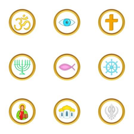 Religion symbols icons set. Cartoon set of 9 religion symbols vector icons for web isolated on white background