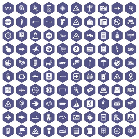 100 pointers icons set in purple hexagon isolated vector illustration