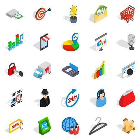 Website development icons set. Isometric set of 25 website development vector icons for web isolated on white background Illustration