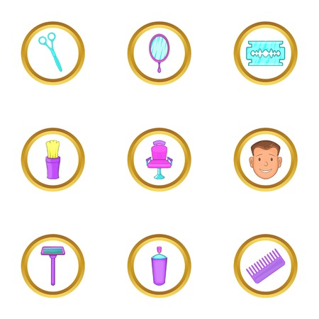 Barber shop things icons set. Cartoon set of 9 barber shop things vector icons for web isolated on white background