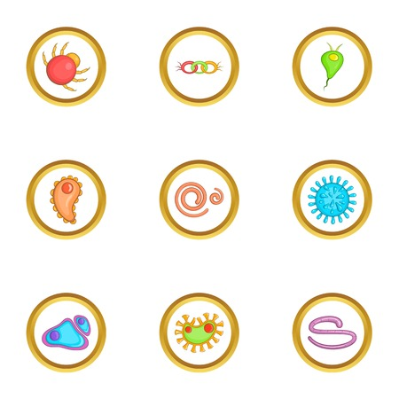 petri: Biology icons set. Cartoon set of 9 biology vector icons for web isolated on white background