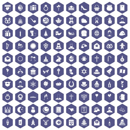 pigeon egg: 100 religious festival icons set in purple hexagon isolated vector illustration