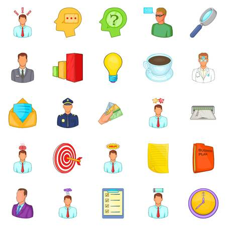teamwork cartoon: Telework icons set. Cartoon set of 25 telework vector icons for web isolated on white background