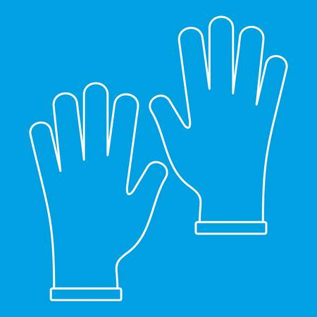surgical glove: Medical gloves icon blue outline style isolated vector illustration. Thin line sign