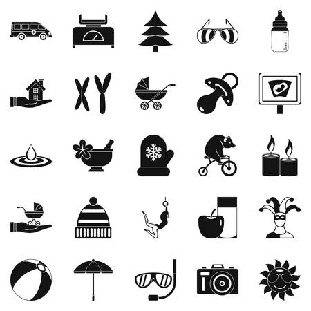 black family: Relaxation icons set. Simple set of 25 relaxation vector icons for web isolated on white background