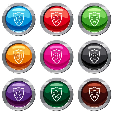 combatant: Protective shield set icon isolated on white. 9 icon collection vector illustration