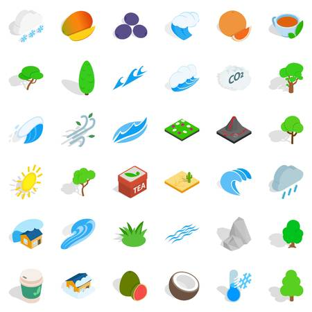 termometer: Small tree icons set. Isometric style of 36 small tree vector icons for web isolated on white background