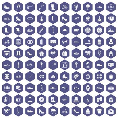 pump shoe: 100 shoe icons set in purple hexagon isolated vector illustration