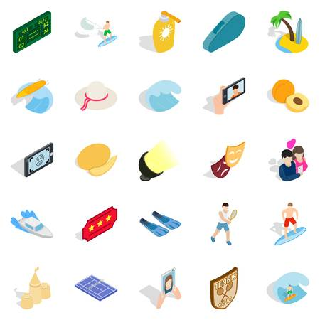 rich couple: Gladness icons set. Isometric set of 25 gladness vector icons for web isolated on white background Illustration