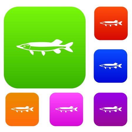 fisheries: Saury set icon in different colors isolated vector illustration. Premium collection