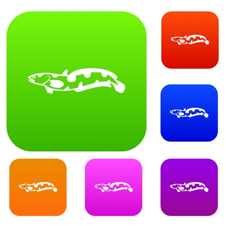 Anarhichas fish set icon in different colors isolated vector illustration. Premium collection Illustration