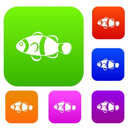 Cute clown fish set icon in different colors isolated vector illustration. Premium collection