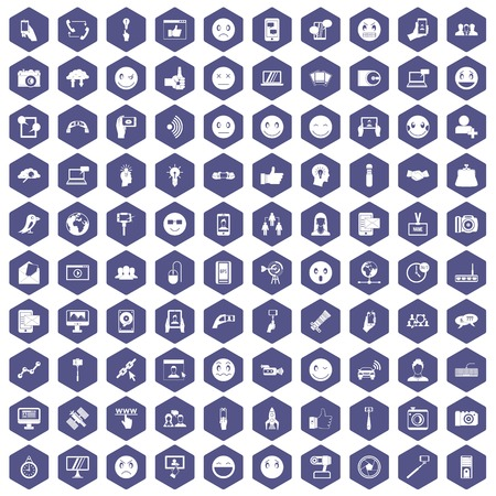 100 social media icons set in purple hexagon isolated vector illustration